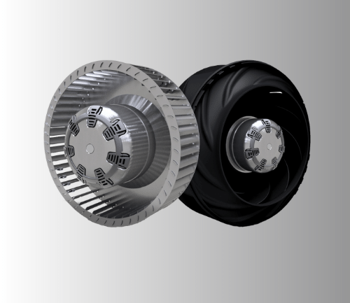 The difference between a forward and backward curved fan